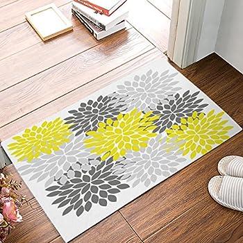 Amazon Com Homelover Tm Flower Gray Yellow Doormat Door