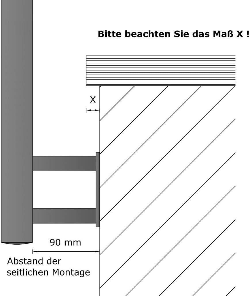 Gel/änder f/ür seitliche Montage an Treppe Balkon und Terrasse mit waagerechte Querstreben bis 6m am St/ück Variante L/änge 100 cm mit 2 Pfosten und 2 Querstreben Seitenabstand 90mm