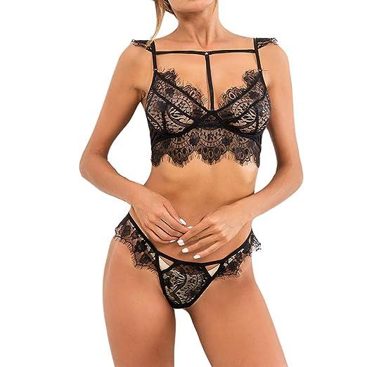 92b36249d7 Amazon.com  Pitauce Women Sexy Sheer Lingerie Sets 2 Pcs Straps Open Cup  Eyelash Lace Bra Mini Tie Skirt G String Babydoll  Clothing