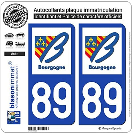 Zone-Stickers 2 Autocollants Plaque Immatriculation 89 Bourgogne Yonne Arrondis