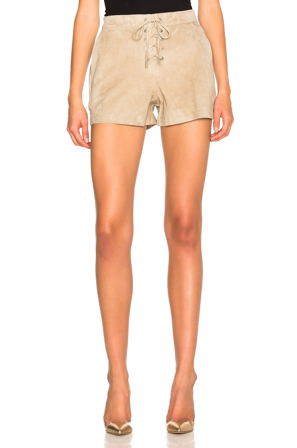 Rag & Bone/JEAN Suede Lace Up Short, Stone, Size 30