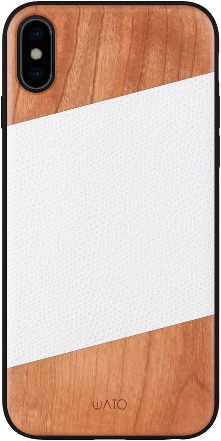 iATO iPhone Xs/X Case Wood & Leather. Unique & Classy White Lizard Pattern Genuine Leather & Real Natural Cherry Wood iPhone Xs/X Case {Shockproof & Raised Lips} iPhone Xs/X Real Wood & Leather Case