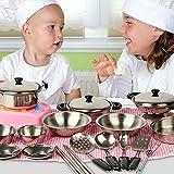 metal cook ware - Fashionclubs 20pcs Children Metal Pots and Pans Pretend Play Kitchen Cookware Set Toys