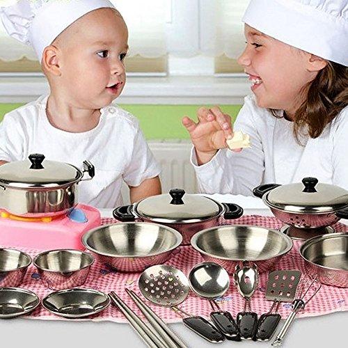 - Fashionclubs 20pcs Children Metal Pots and Pans Pretend Play Kitchen Cookware Set Toys
