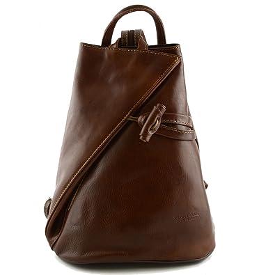 Damen Echtes Leder Rucksack Mit Träger Und Reißverschluss- Aniuk Farbe Blau Cognac - Italienische Lederwaren - Rucksack Dream Leather Bags Made in Italy 0mu3X2JU0Q