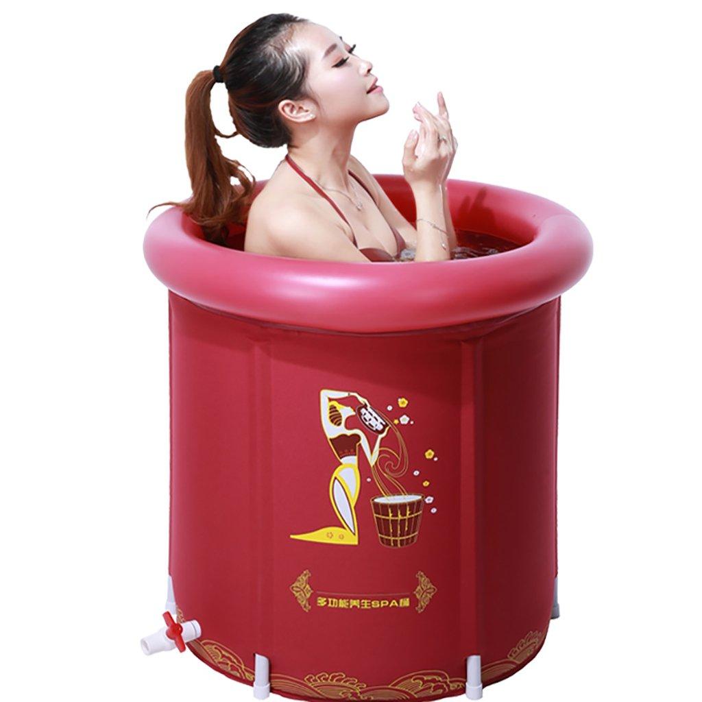 PM YuGang Foldable Inflatable Thick Warm Adults Bathtub, Children Inflatable Pool Bath Tub, Red