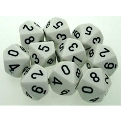 Chessex Dice Sets: Opaque White with Black - Ten Sided Die d10 Set (10): Toys & Games