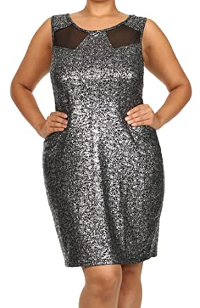 Women\'s Plus Size Sparkle Tank Dress Mesh Inserts Lurex Metallic ...