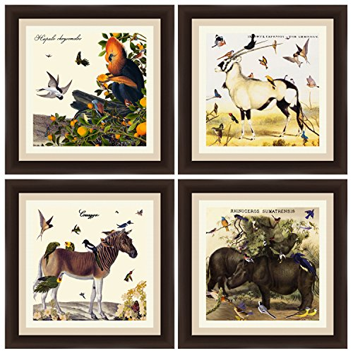 PTM Images ''Vintage Animals'' Artwork, 14 by 14-Inch, Espresso, Set of 4 by PTM Images