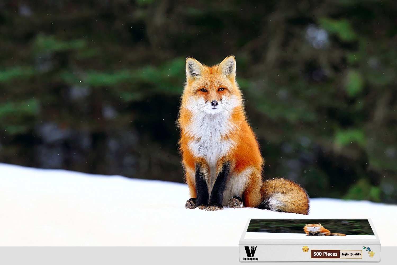 当店の記念日 PigBangbang,50cm X 38cm,Difficult Puzzle In With Jigsaw Snow Glue Premium B07FLLN4SP Wooden - Red Fox In Snow - 300 Piece Jigsaw Puzzle B07FLLN4SP, アークランド楽天市場ショップ:3e186c36 --- 4x4.lt