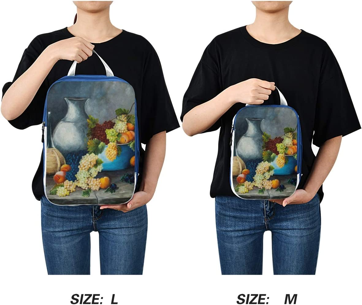 m Fruit And Wine Oil Painting 3 Set Packing Cubes,2 Various Sizes Travel Luggage Packing Organizers