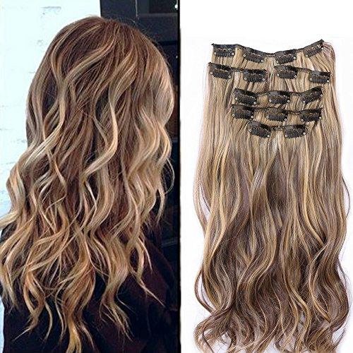 """Neverland Beauty 22""""7 Pcs 16 Clips Clip in Full Head Wavy Curly Hair Extensions Mix Brown Black"""