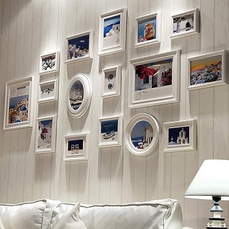 Múltiples Cuadros de Fotos de Cuadros de Fotos de Madera en Blanco Collage para 16 Fotos en la Familia Sala de Estar en casa Escalera DIY Pintura Decorativa: Amazon.es: Hogar