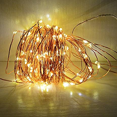Amazon 33ft solar powered string lights copper wire firefly 33ft solar powered string lights copper wire firefly lights indoor outdoor decoration string light waterproof with mozeypictures Images