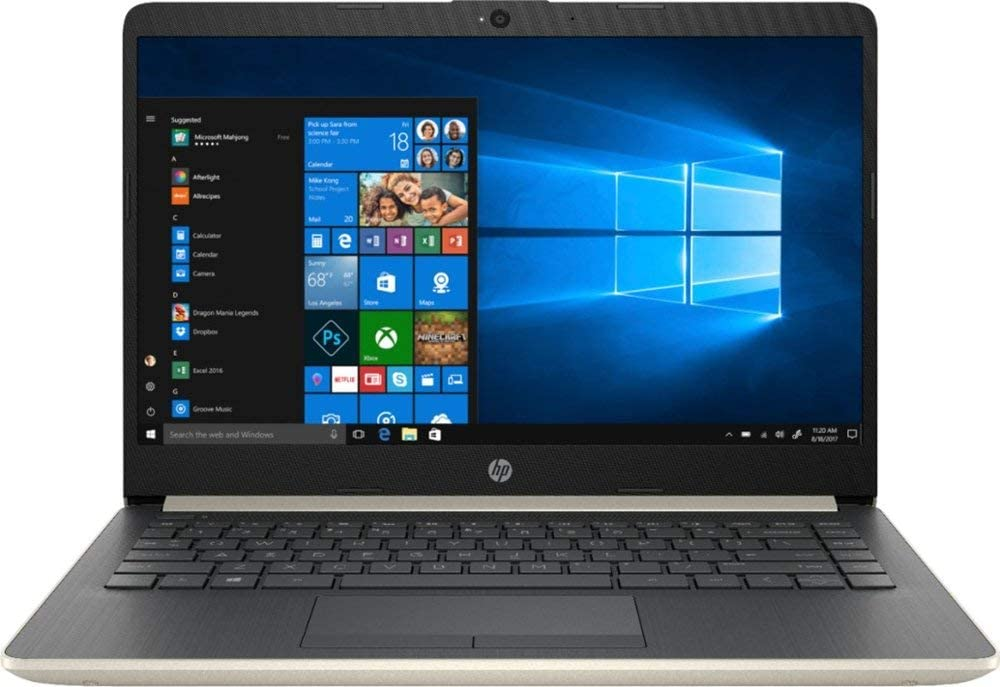 HP 14 Inch HD WLED Display Business Laptop, Intel Dual Core i3-7100U Processor 2.4 GHz, 8GB Memory, 256GB SSD, USB-C, WiFi, HDMI, Bluetooth, Gigabit Ethernet, MicroSD Card Slot, Windows 10, Gold