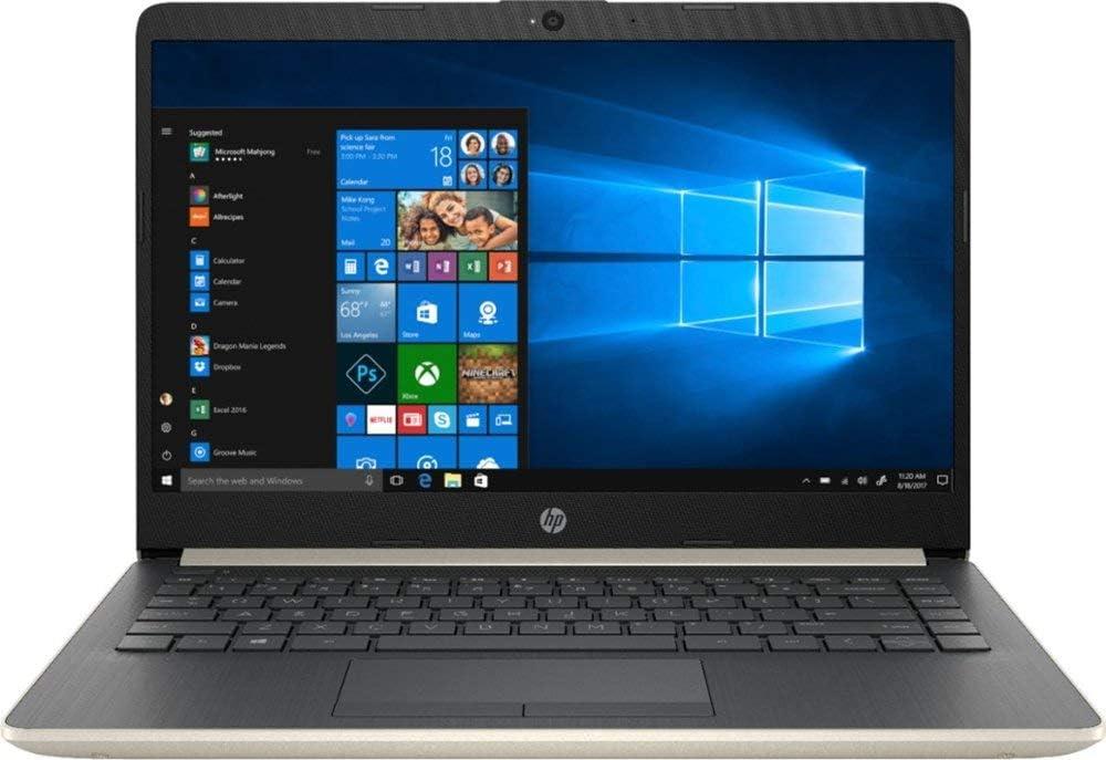HP 14 Inch HD WLED Display Business Laptop, Intel Dual Core i3-7100U Processor 2.4 GHz, 8GB Memory, 256GB SSD, USB-C, WiFi, HDMI, Bluetooth, Gigabit Ethernet, MicroSD Card Slot, Windows 10, Gold