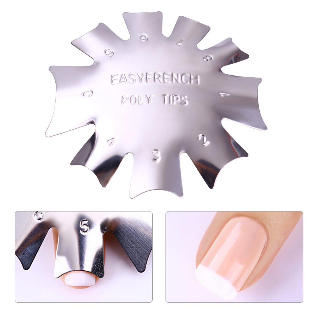 BORN PRETTY Nail Art French Tip Line Edge Cutter Stencil Trimmer 11 Sizes Nail art Manicure Styling Tool 3 Patterns Set