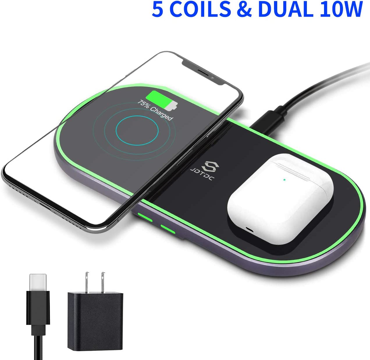 QC Adapter Included Samsung Galaxy Note 10//Note 10+//S10 AirPods 2//Pro and More Dual Wireless Charger 5 Coils Qi-Certified Wireless Charging Stand for iPhone 11//11 Pro//11 Pro Max//XS Max//X