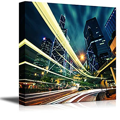 Canvas Prints Wall Art - Hong Kong City Center at Night with Light Trails - 16