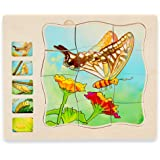 Wooden Puzzles for Kids Ages 4-8, 5 Layers Life Cycle of a Butterfly Montessori Jigsaw Puzzle for Kids, Children Preschool Le