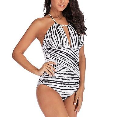 Suma-ma Womens Plus Size Stripe Printed Padded Swimsuit Monokini Push Up  Bikini Sets V-neck Swimwear at Amazon Women s Clothing store  7b45ec53ef97
