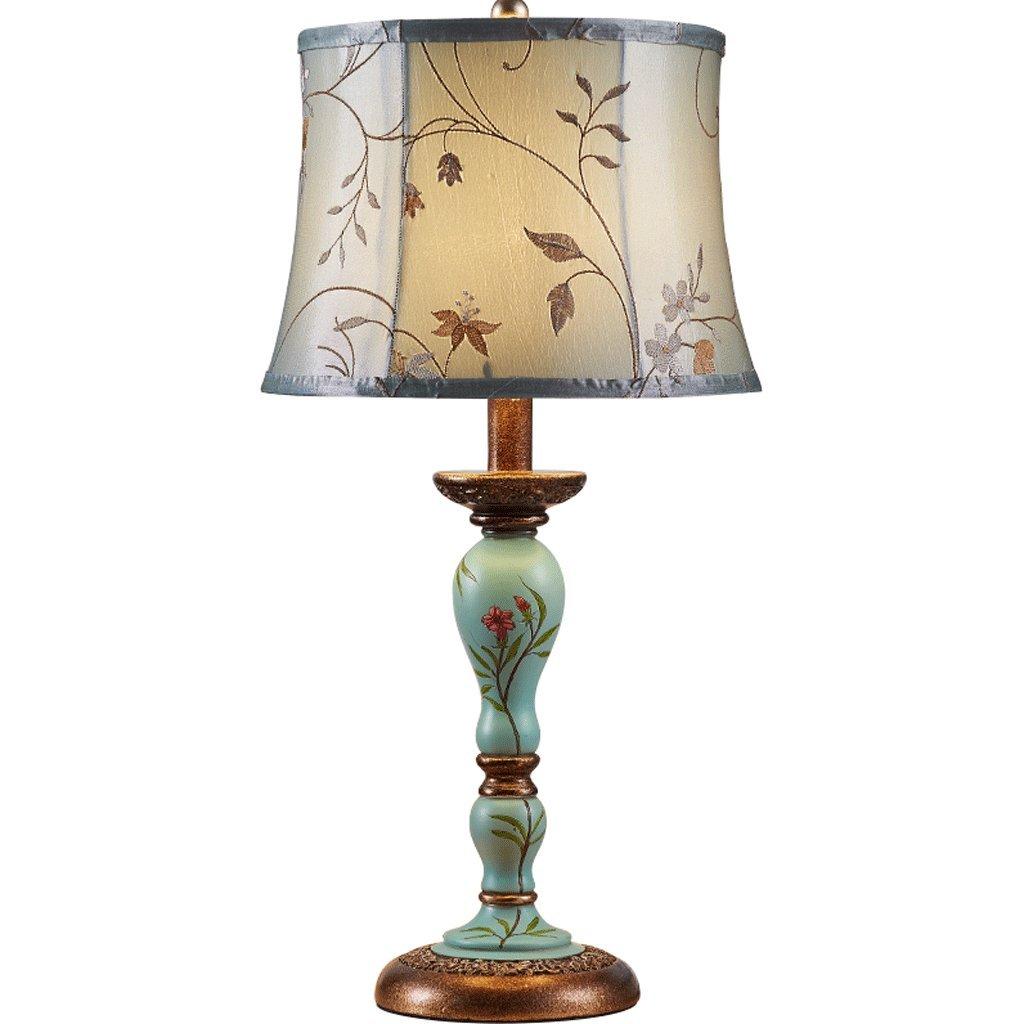 NJ Tischleuchte- Europäische Stoff Schreibtischlampe Schlafzimmer Nachttischlampe Wohnzimmer Garten dekorative Tischlampe (Farbe   A)