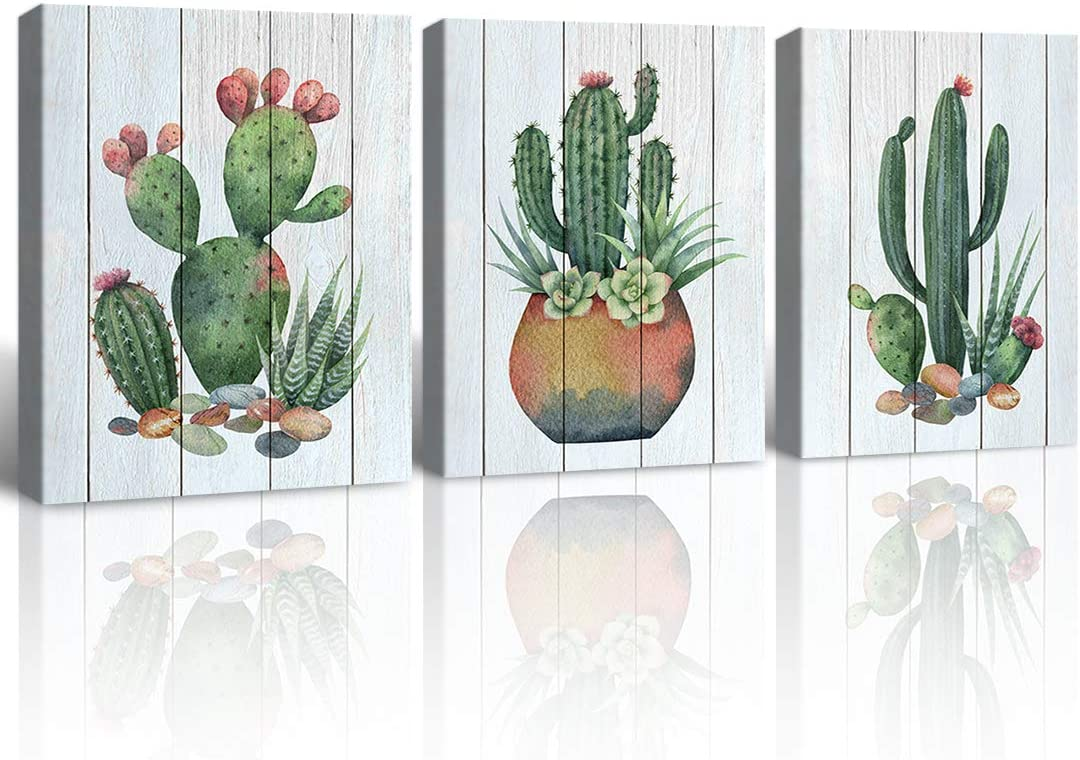 Gardenia Art Watercolor Cacti And Succulents On Wooden Texture Canvas Print Pot Flower Plants Painting Living Room Bathroom Wall Art 12x16 Inch Piece Frameless 3 Panels Amazon Ca Generic