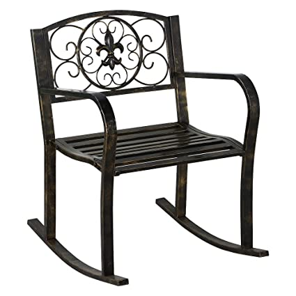 Yaheetech Rolling Chair Metal Rocker Chair Cart Folding Chair Mobile  Trolley Bronze