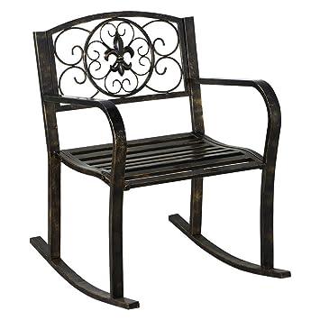 Exceptional Topeakmart Sturdy Patio Metal Rocking Chair Porch Seat Deck Outdoor  Backyard Glider Rocker In Bronze