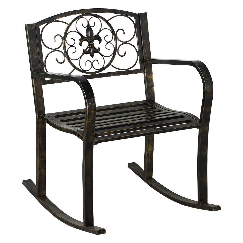 Yaheetech Metal Patio Rocking Chair Heavy Duty Rocking Chair Front Porch/Outdoor/Patio Rocker Seat Cart Bronze