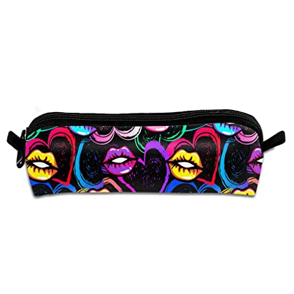 Kiss Lips and Hearts Women Cute Pencil Case Cylindrical Shape Small Tool Pouch  Bag Cosmetic Bag 1859aaf066cde