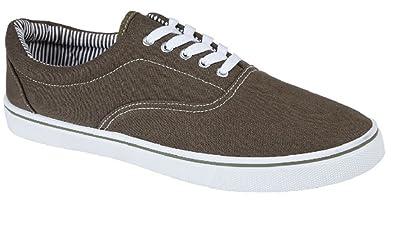64bfdb3f675763 UNISEX LACE UP MENS WOMENS PLIMSOLES PLIMSOLLS PUMPS TRAINERS ESPADRILLES  DECK SKATE SHOES CANVAS BOYS GIRLS ADULT SIZES 7-12  Amazon.co.uk  Shoes    Bags