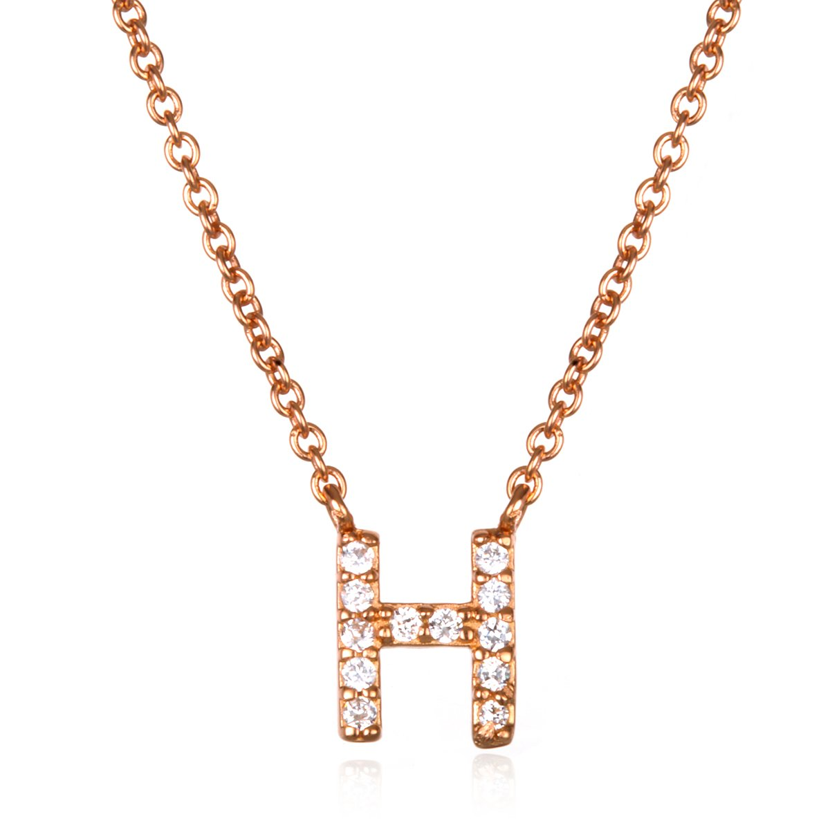 White CZ Initial H Necklace with 18 Inch Chain