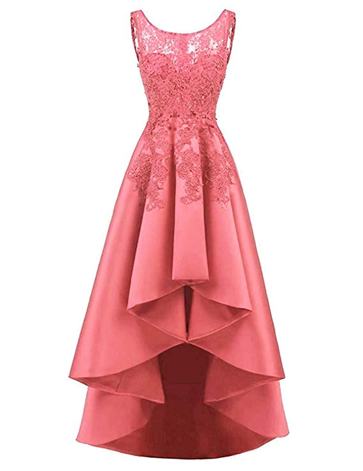 Coral QiJunGe Women's High Low Prom Dress Lace Satin A Line Evening Formal Gowns