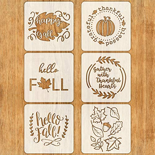 Painting With Stencils (6 PCS Fall Stencils for Painting on Wood 12 Inches Reusable Floor Tile Stencil for Thanksgiving Decor Fabric Canvas Wall Painting)