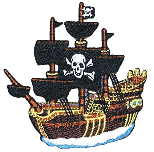 """[Single Count] Custom and Unique (3"""" by 3 1/4"""" Inches) Jolly Roger Pirates Skull and Crossbones Pirate Ship Iron On Embroidered Applique Patch {Brown, Yellow, Black, and White Colors}"""
