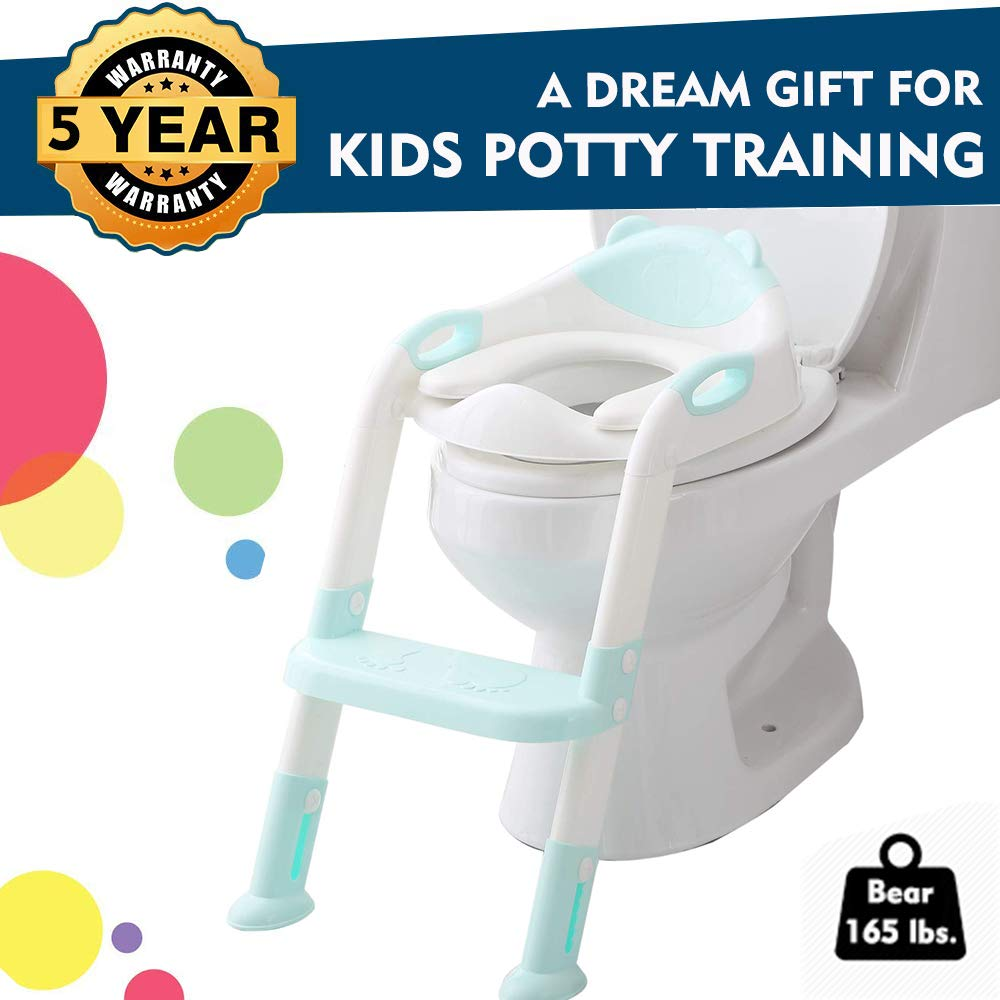 EGREE Potty Training Toilet Chair Seat with Step Ladder for Kids and Toddler Boys Girls - Soft Padded Seat with Foldable Wide Step and Safety Handles - Blue and White