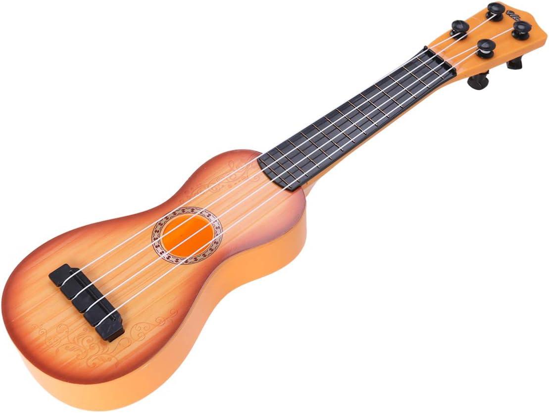 IMIKEYA Niños Ukelele Guitarra Pequeña 4 Cuerdas Instrumentos Musicales Juguetes para Niños Estudiantes Adultos Principiantes Juguetes Educativos (Color de Madera Amarillo)