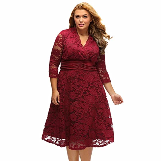 Paixpays Plus Size Women Dress V-Neck 3/4 Sleeve Lace Dress Prom ...