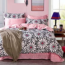 Auvoau White Black Flower Pink Background Girls Duvet Cover Sets, Full (5pc with comforter)