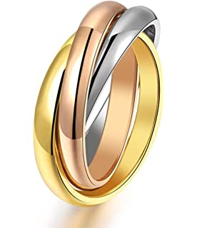 8cbe9335a4eb0 Amazon.com: MEALGUET Stainless Steel Fashion Triple 3 Tone ...