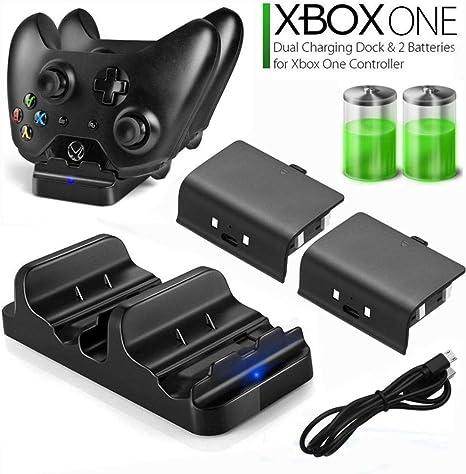 QAIYXM Cargador del Control, Universal de Carga Dual del Cargador del regulador del Muelle + 2pcs baterías Recargables de Xbox One batería Recargable Stander: Amazon.es: Deportes y aire libre