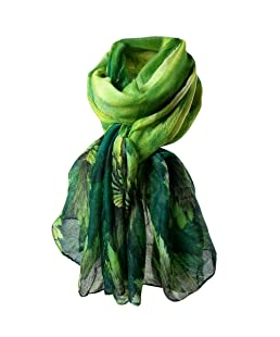 ZHMEI New Scarves Women Printing Long Soft Paris Yarn Scarf Wrap Shawl Stole Pashmina Scarves Christmas Long Soft (Green)