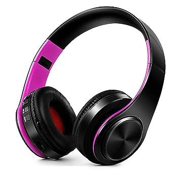 Zuionk Cinta Wireless Auriculares Micrófono Bluetooth Estéreo Plegable Auriculares Rose Rot&Schwarz