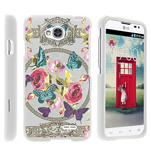 LG Ultimate 2 Phone Case, Full Body Armor Case Cover with Customized Design for LG Optimus L70 MS323, LG Optimus Exceed 2 VS450PP, LG Ultimate 2 L41C from MINITURTLE -Royal Flowers and Butterfly