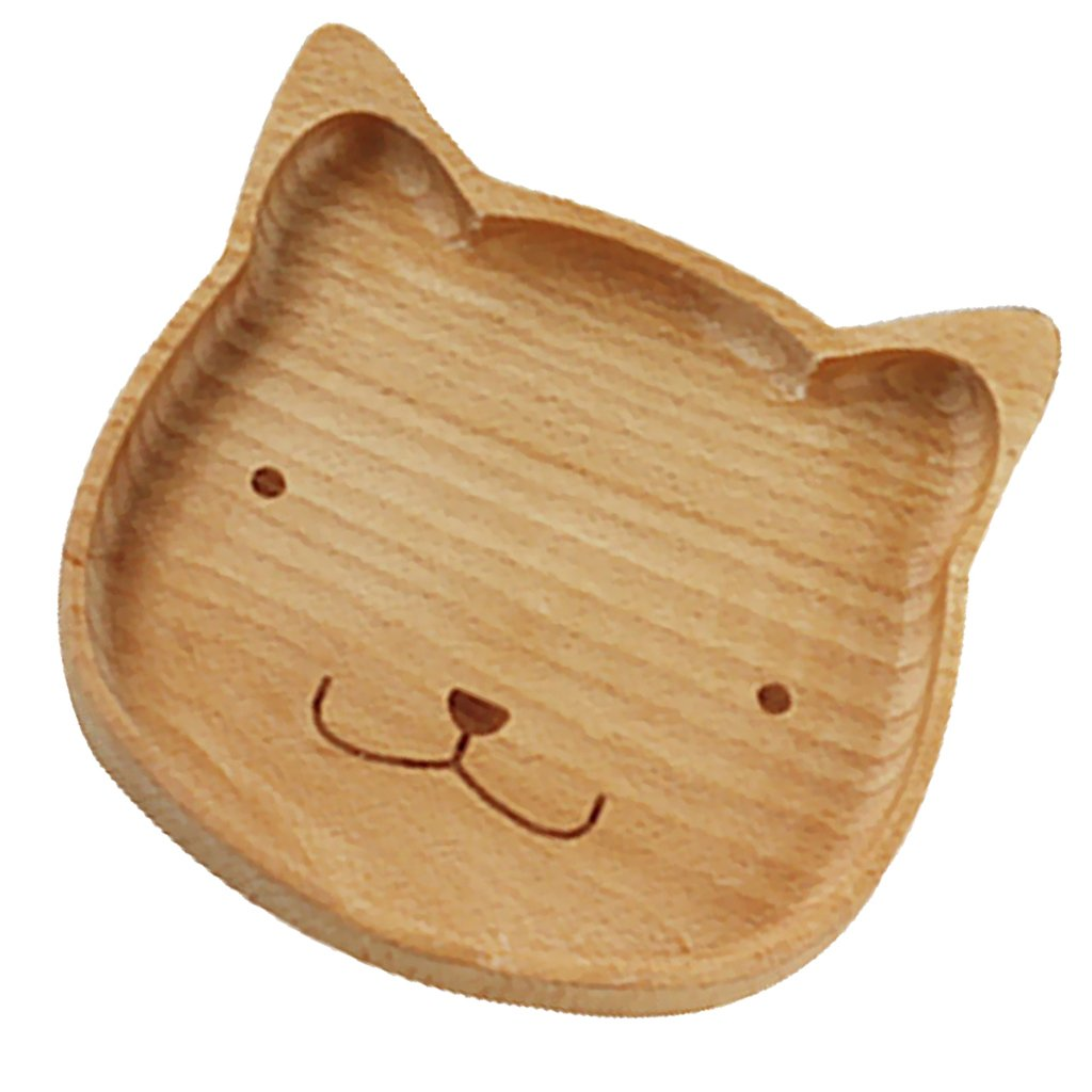 Jili Online Natural Handmade Wooden Kids Cat Plate Divided Dishes Animal Serving Tray - Cat