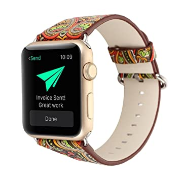 Amazon.com: For Apple Watch Band,Voberry Premium Leather Replacement Strap for Apple Smart Watch 38mm (gold): Beauty