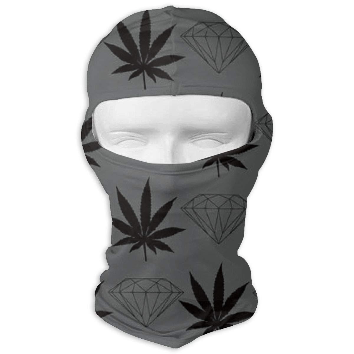 LaoJi Marijuana Weed Diamond Winter Ski Mask Balaclava Hood Wind-Resistant Face Mask