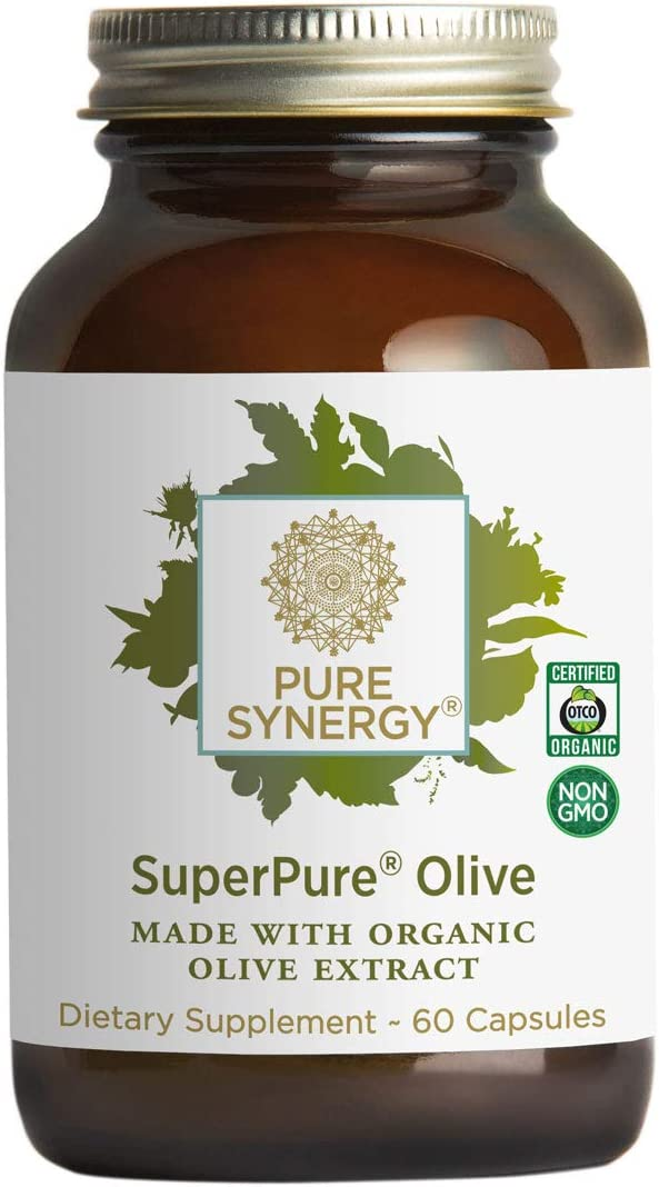 Pure Synergy SuperPure Olive Leaf, Oil, Fruit Extract 60 Capsules w Oleuropein Hydroxytyrosol