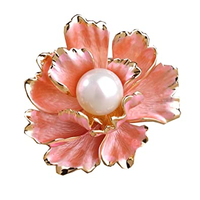 253d55ce9b3 Amazon.com: BEICHUANG Delicate Big Red Peony Flower Brooch Pin (gold):  Jewelry